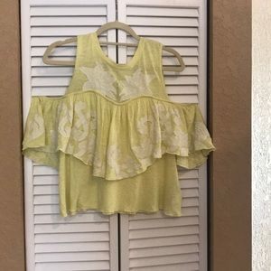 Free People cold shoulder yellow top